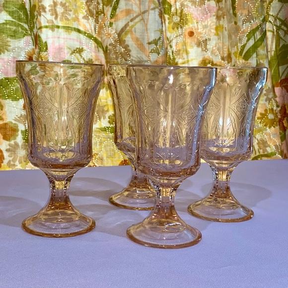 Vintage Pink Depression Glass Goblets 4 pc set